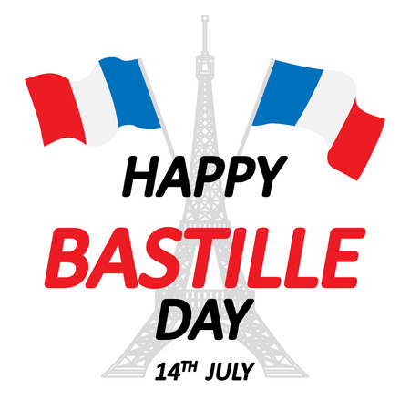 14 th of July. Happy Bastille Day. Creative Vector illustration, card, banner or poster for the French National Day. Vector illustration 向量圖像
