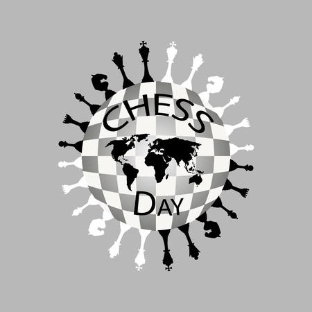 International Chess Day Logo black and white. Vector illustration
