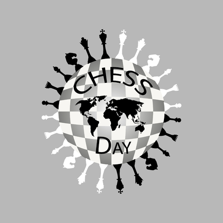 International Chess Day Logo black and white. Vector illustration