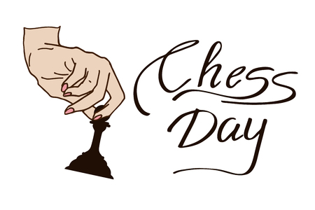 International Chess Day background. A woman's hand holds chess. Vector illustration Иллюстрация