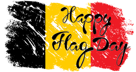 21 th of July. Happy National Day of Belgium. Flag of Belgium , brush stroke background. Vector illustration Illustration