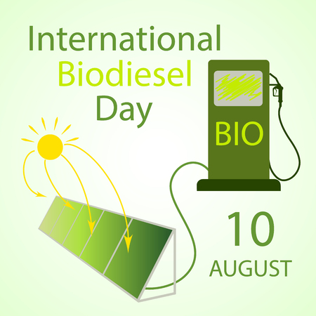 International Biodiesel Day. 10 August. Vector illustration  of installation for the production of biodiesel from algae and a fuel pump. Alternative and environmental friendly technology and lifestyle Vectores