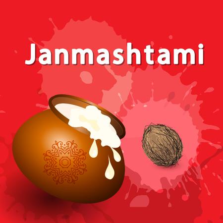 Creative illustration,poster or banner for Indian festival of Janmashtami Celebration. Vector illustration