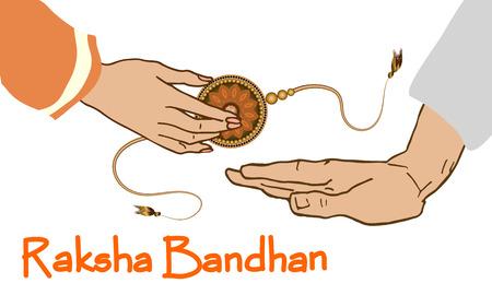 Raksha Bandhan 축제 인사말 카드 서식 파일. Rakhi의 일러스트와 함께 아름 다운 배경입니다. 디자인 벡터 일러스트 레이션