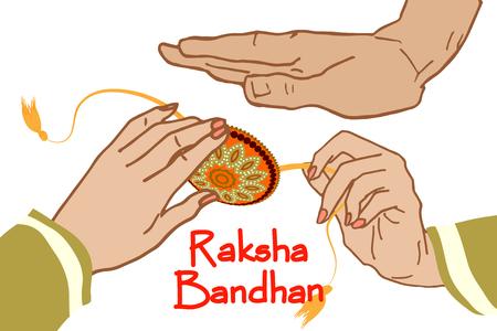 Raksha Bandhan Festival Greeting Card Template. Beautiful background with illustration of rakhi. Design Vector Illustration