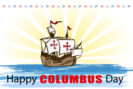 Happy Columbus day greeting card or background. Vector illustration. Vector Illustration