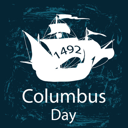 Columbus ship hand draw by ink made for Columbus day. Vector illustration.