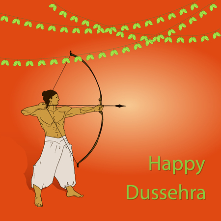 Happy Dussehra celebration card for Indian Festival. Gold Lord Rama taking aim with bow and arrow, killing Ravana. Hand drawn Vector illustration. Ilustração