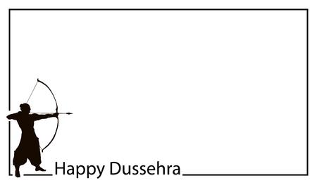 Scheda di celebrazione felice Dussehra per il Festival indiano. Gold Lord Rama prende la mira con arco e frecce, uccidendo Ravana. Illustrazione vettoriale disegnato a mano. Vettoriali