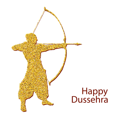 Happy Dussehra celebration card for Indian Festival. Gold Lord Rama taking aim with bow and arrow, killing Ravana. Hand drawn Vector illustration. Ilustrace