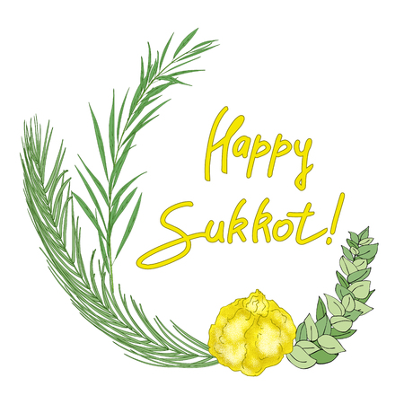 Sukkot Jewish Holiday background. Festive background with hand-written text, branches of myrtle, willow, palm, citron fruits. Vector illustration Ilustração