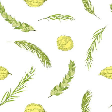Happy Sukkot seamless pattern. Jewish holiday huts endless background. Repeated texture with branches of myrtle, willow, palm, citron fruits. Vector illustration Çizim