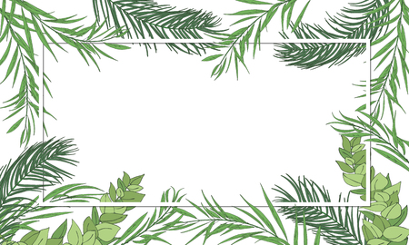 Sukkot Jewish Holiday palm, willow, myrtle leaves frame background. Festive Palm tree leafs background. Vector illustration