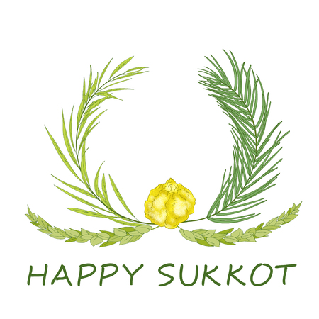 Sukkot Jewish Holiday background. Festive background with hand-written text, branches of myrtle, willow, palm, citron fruits. Vector illustration Illustration