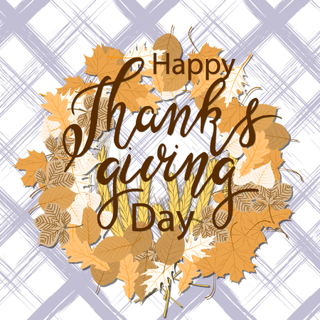 Happy Thanksgiving vector card with decorative elements with autumn leaves for your design project. Vector illustration 일러스트