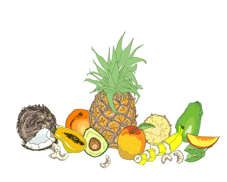 Composition from tropical fruits. Nutrition concept, fruit. Vegetarian food. Healthy natural organic food. Vector illustration Illustration