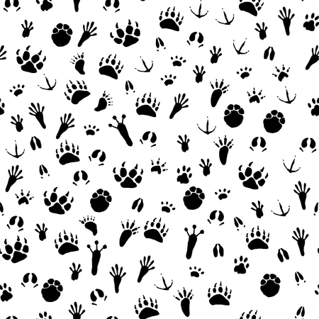 Seamless pattern with traces of various animals and birds. Black traces of animals on a white background. Vector illustration
