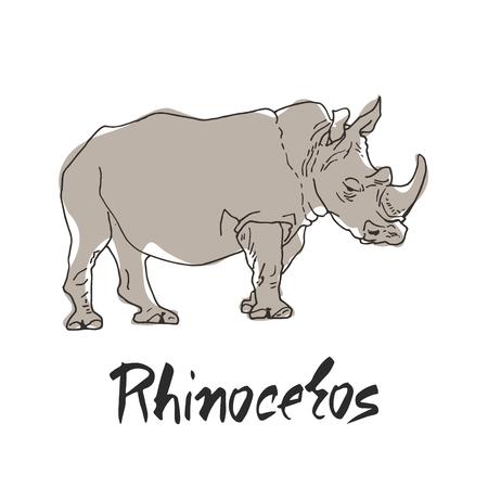 Nosorożec w stylu kreskówki, jest izolowany na białym tle. Afrykańska dzikość wektor ikona ilustracja.