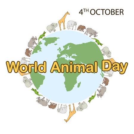 World Animal Day, 4 October. Banner World animal day with with wild animals and planet earth. Animals on the planet, animal shelter, wildlife sanctuary. World Environment Day. Vector illustration Banque d'images - 108775263