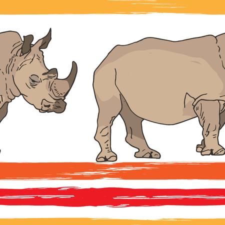 Nahtloses Muster aus großen Nashörnern und Grunge-Streifen. Afrikanische Wildtiere. Vektorillustration Vektorgrafik