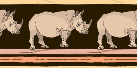 Nahtloses Muster aus großen Nashörnern und Grunge-Streifen. Afrikanische Wildtiere. Vektorillustration