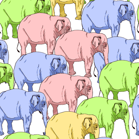 Seamless pattern of multi-colored elephants. Wild animals. Vector illustration