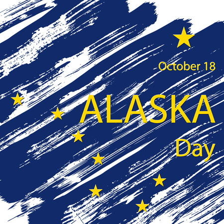 Grunge styled flag of Alaska  state of United States of America. Template for banner or poster. Vector illustration