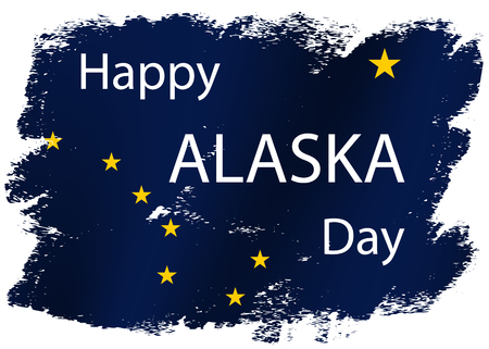 Grunge styled flag of Alaska  state of United States of America. Template for banner or poster. Illustration
