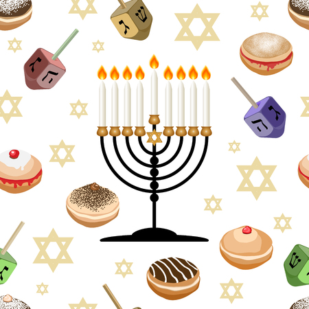 Seamless pattern with traditional symbols of Hanukkah.  Jewish holiday Hanukkah  design with sufganiyot ,dreidel, menorah,  bunting, coins isolated on white background. Vector illustration. Ilustrace