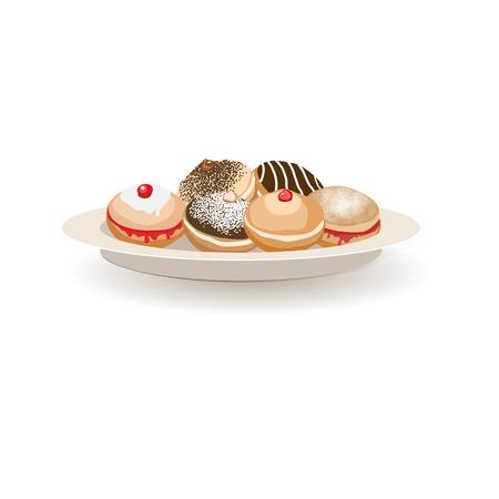 Pattern with traditional symbols of Hanukkah. Jewish holiday Hanukkah design with sufganiyot donut set. Vector illustration