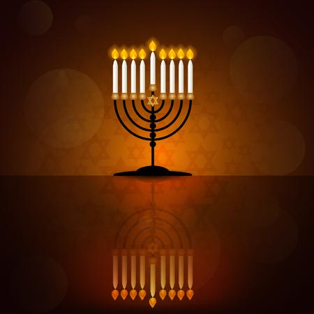 Jewish holiday Hanukkah  design with  menorah with burning candles and reflection on dark background. Vector illustration. Ilustracja