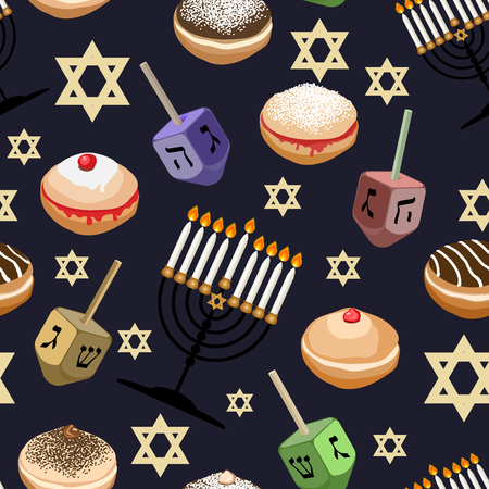 Seamless pattern with traditional symbols of Hanukkah.  Jewish holiday Hanukkah  design with sufganiyot ,dreidel, menorah,  bunting, coins isolated on dark background. Vector illustration.