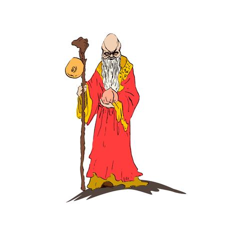 Chinese sage Star elder Shawsin holds a ginseng root staff and peach longevity. Bozhestovo Longevity Star elder Shousin. Vector illustration