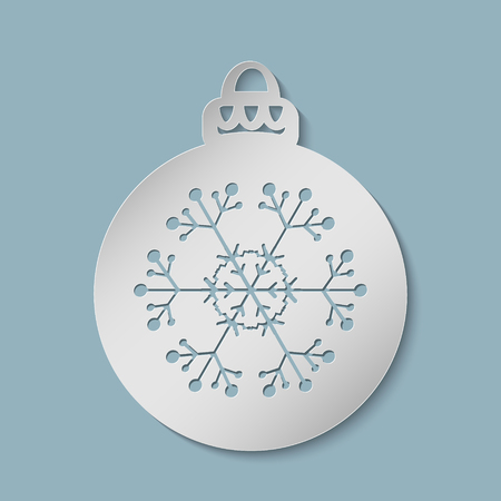 Christmas ball with a snowflake cut out of paper. Template for Christmas cards, invitations for Christmas party. Image suitable for laser cutting, plotter cutting or printing. Vector illustration