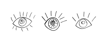 Human eyes set of hand-drawn ink. Vector illustration Illustration