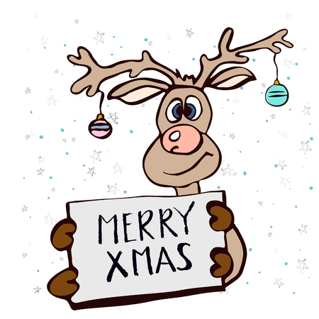 Happy Christmas greeting card, cute hand drawn style. A hand-drawn deer holding a banner with a greeting text. For banner, poster, flyer, brochure, wed, background. Vector illustration Иллюстрация