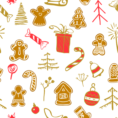 Christmas seamless pattern with traditional symbols on a white background. Christmas character set drawn by hand inks. Winter xmas vector illustration