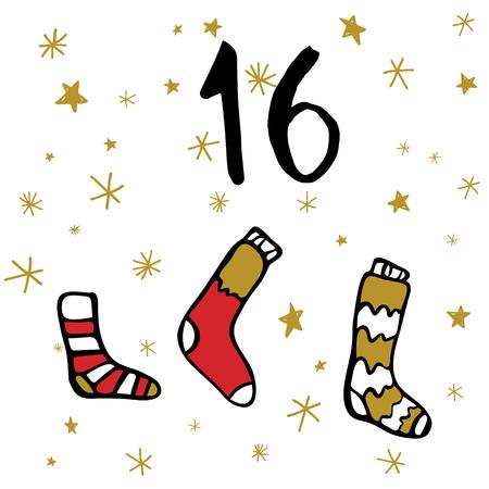 Christmas advent calendar, cute hand drawn style. Christmas and New Year Celebration Symbols. Winter holidays calendar card design, Vector illustration.