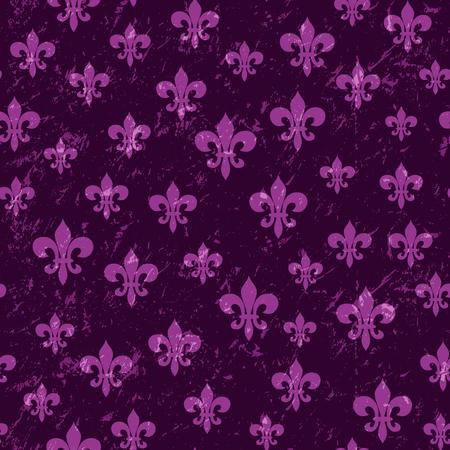Mardi Gras carnival seamless pattern with masquerade elements fleur de lis. Fleur-de-Lis lily symbol for masquerade carnival. For greeting card, banner, gift packaging, poster. Vector illustration