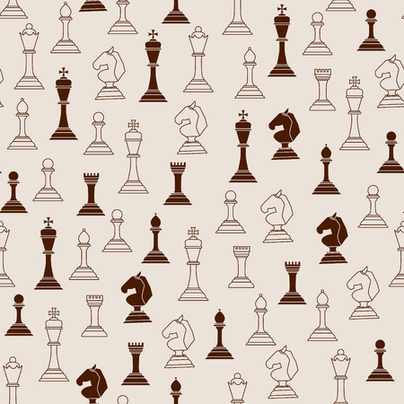 Chess pieces seamless pattern. Chess pieces on a light background. Vector illustration