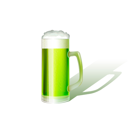 St patricks day realistic green beer mug isolated on white background. Vector illustration