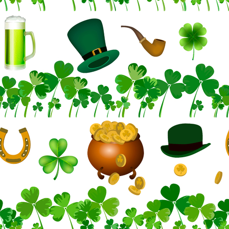Vector seamless pattern with St. Patricks day illustrations. Seamless pattern with clover leaves, a pot of coins, hats, a smoking pipe.