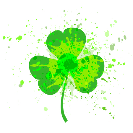 Irish holiday Saint Patricks Day. Green watercolor trifolium clover. Vector illustration with for greeting card, poster, celebration banner