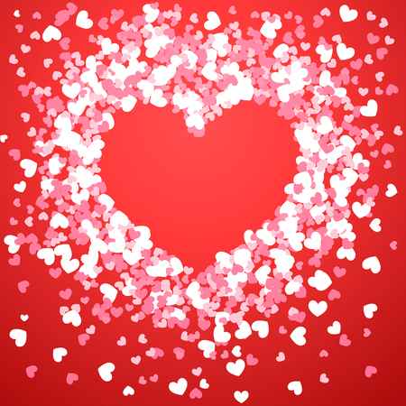 Abstract hearts design for Valentine's Day. Red and white hearts in the shape of a heart frame on red background. Vector illustration Vector Illustratie