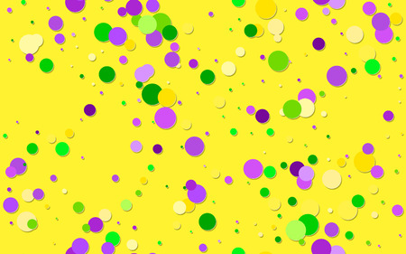 Vector Bright Colorful scattered paper confetti on yellow background. Falling particles for Carnival, Mardi Gras, Holiday decoration. Mardi Gras confetti in green, yellow, purple violet.