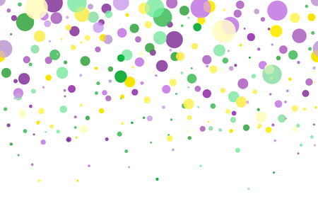 Vector Bright Colorful scattered seamless paper confetti on white background. Falling particles for Carnival, Mardi Gras, Holiday decoration. Mardi Gras confetti in green, yellow, purple violet.
