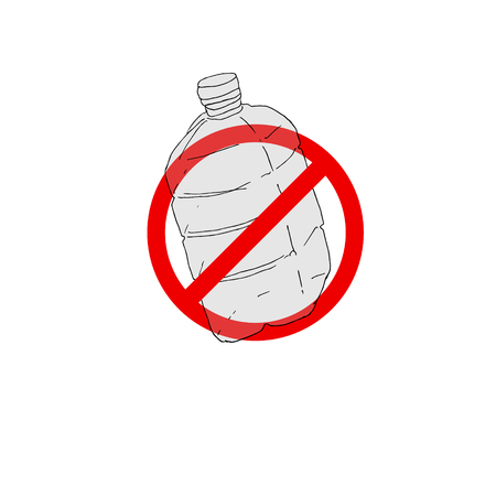 Say no to plasticbottle. Plastic bottles in the deny sign isolated on white background. Stop trashing our Earth. World Environment Day vector illustration. Campaign to reduce the use of plastic bottle