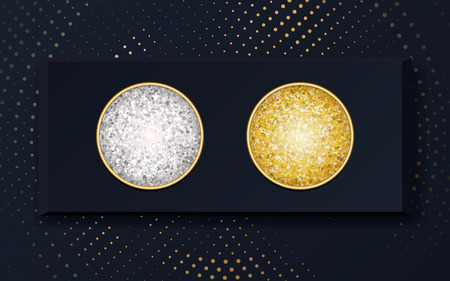 Vector makeup cosmetics eye shadow gold and silver in a black box. Makeup samples, use for advertising flyer, banner, brochure, booklet and leaflets for the promotion of decorative cosmetics
