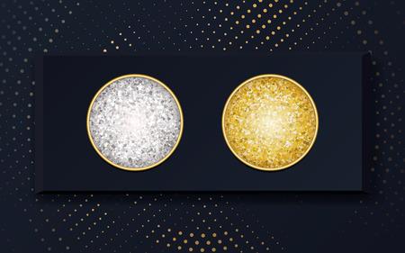 Vektor Make-up Kosmetik Lidschatten Gold und Silber in einer Blackbox. Schminkmuster, Verwendung für Werbeflyer, Banner, Broschüren, Booklets und Faltblätter zur Werbung für dekorative Kosmetik