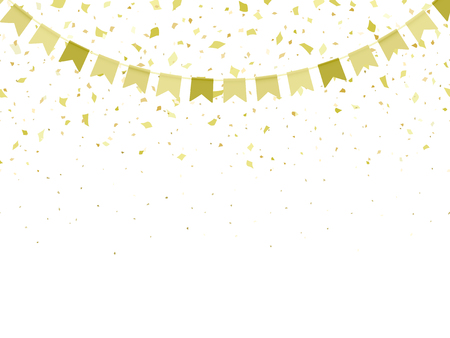 Horizontal pattern golden flags garland and confetti. Carnival garland with pennants for birthday celebration, festival and fair decoration. Golden confetti falling on a white background. Vector